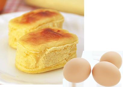 養鶏家が自慢の卵「いわき地養卵」で作るチーズケーキは普通のチーズケーキよりもほんのりとオレンジ色。